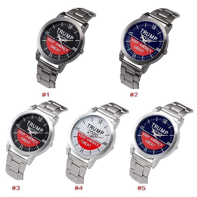 18 أنماط ترامب 2020 ساعات رجالية كوارتز ساعة اليد إبقاء أمريكا رسالة رائعة ساعة الكلاسيكية مع حزام معدني