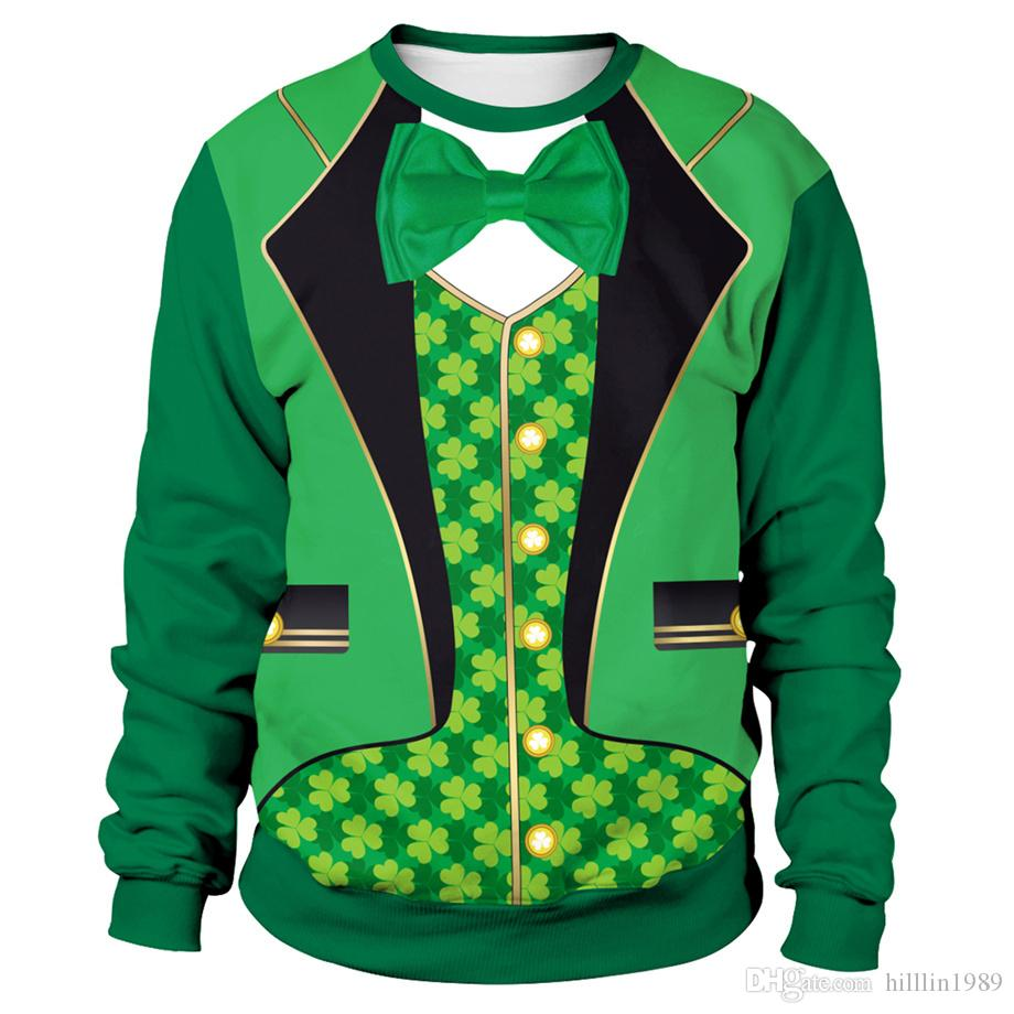 3D 디지털 그린 Leprechaun 양복 인쇄 후드 세인트 패트릭의 날 스웨터 남여 애인의 의류 패션 아일랜드 휴일 커플 착용