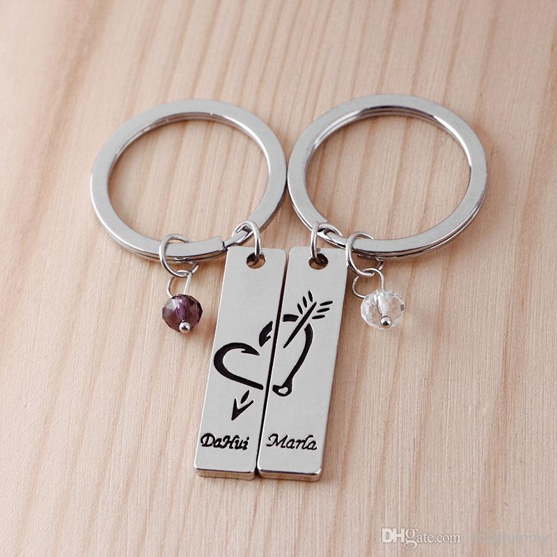 Free Gift Pouch Valentines Heart Keyring Set Engraved with Lovers Names