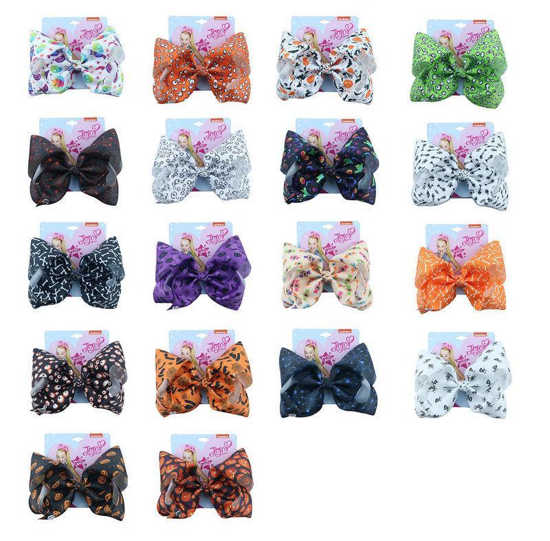 New Jojo Siwa Halloween Children's Ribbon Hair Bows 18 Designs 7 Inch Big Hairpin Pumpkin Skull Headdress Kids Girl Hair Accessories