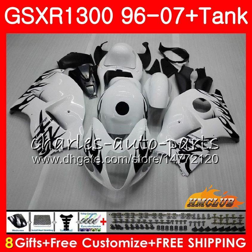 Kit para SUZUKI GSXR-1300 GSXR1300 Hayabusa 96 97 98 99 00 01 07 24HC.37 GSXR 1300 1996 1997 1998 1999 llamas negras 2000 2001 2007 Carenados
