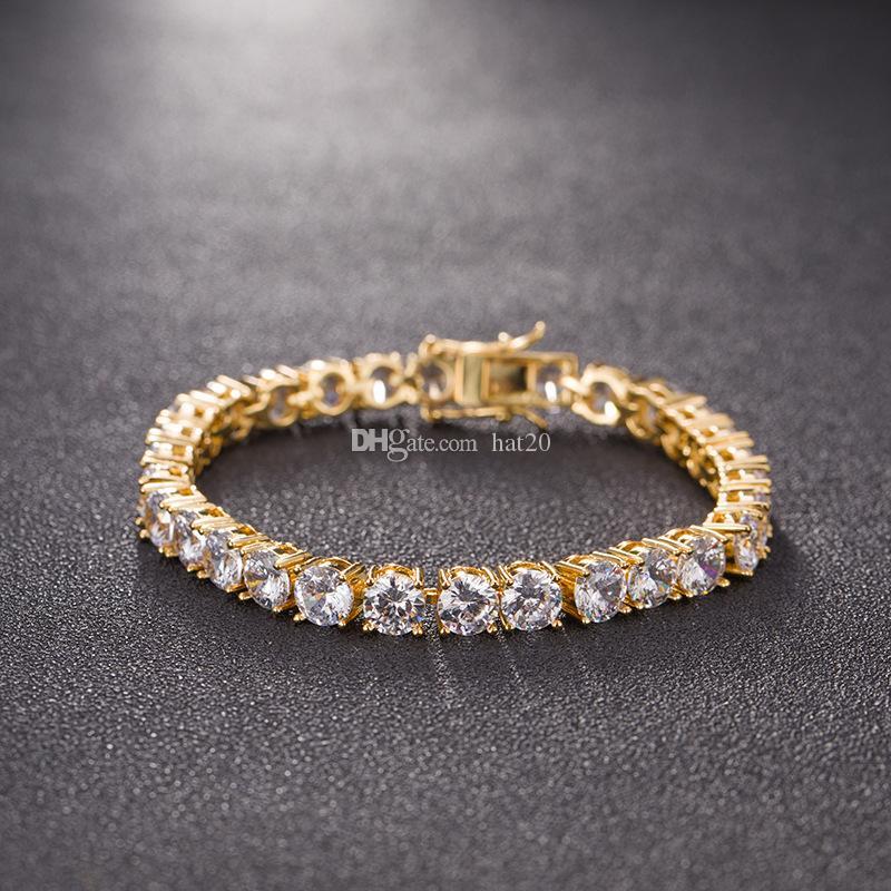 Nuovi Hip Hop Tennis Chain dei diamanti Bracciali modo degli uomini di lusso di rame zirconi Bracciale Oro Argento monili delle catene paio braccialetto Bling