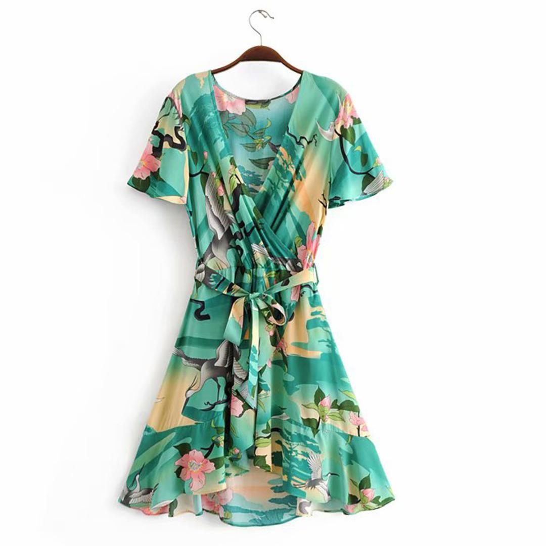a121a455d3b 2019 Jastie Ethereal Lily Maxi Dress V Neck Wrap Dresses Boho Chic Flounce  Hem Short Sleeve Summer Dress Casual Beach Women From Ll shop