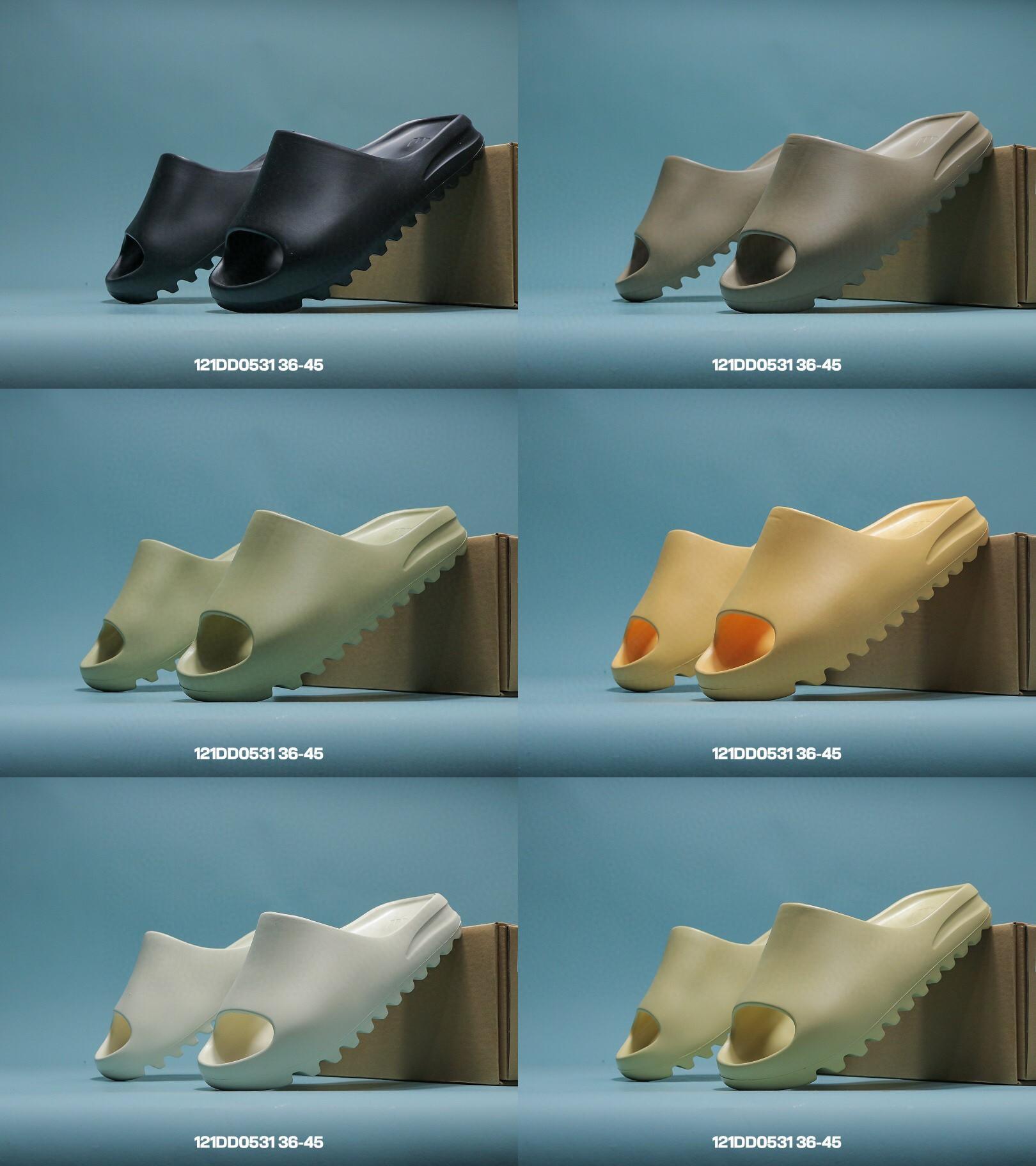 Kanye West Slaytlar Terlik Köpük Koşucu Çöl Kum Üçlü Siyah Kemik Beyaz Reçine Slide Sandal Erkek Terlik