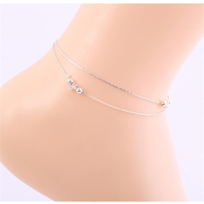 Star Charm Anklet Boho Beach Dainty Cute Tiny Lucky Star Foot Chain Ankle Bracelet Silver Beaded Chain Anklet for Women