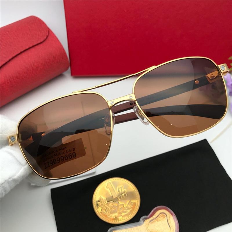 Yeni Moda Marka Klasik Ünlü Moda kadınlar lüks tasarımcı Retro Metal Ahşap Üst Kalite kare Erkekler bayanlar güneş gözlüğü güneş gözlüğü