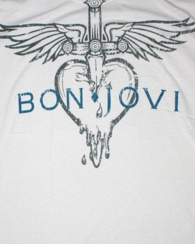 BON JOVI VINTAGE LOGO WHITE//LIGHT GREY MENS T SHIRT HARD ROCK RICHIE SAMBORA