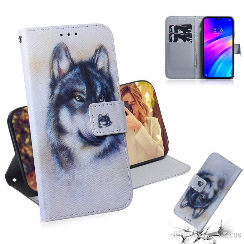 Wallet Case For Xiaomi Redmi 7 Filp Cover Hot selling Coloured pattern Wolf tiger lion Owl Dog With Card Slot Design