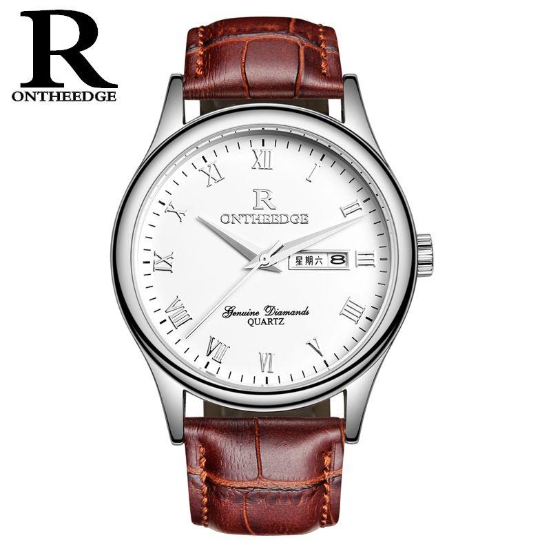 RONTHEEDGE мужская мода часы авто дата День недели кварцевые бизнес наручные часы Кожаный ремешок часы для мужчин Relogio Masculino RZY010