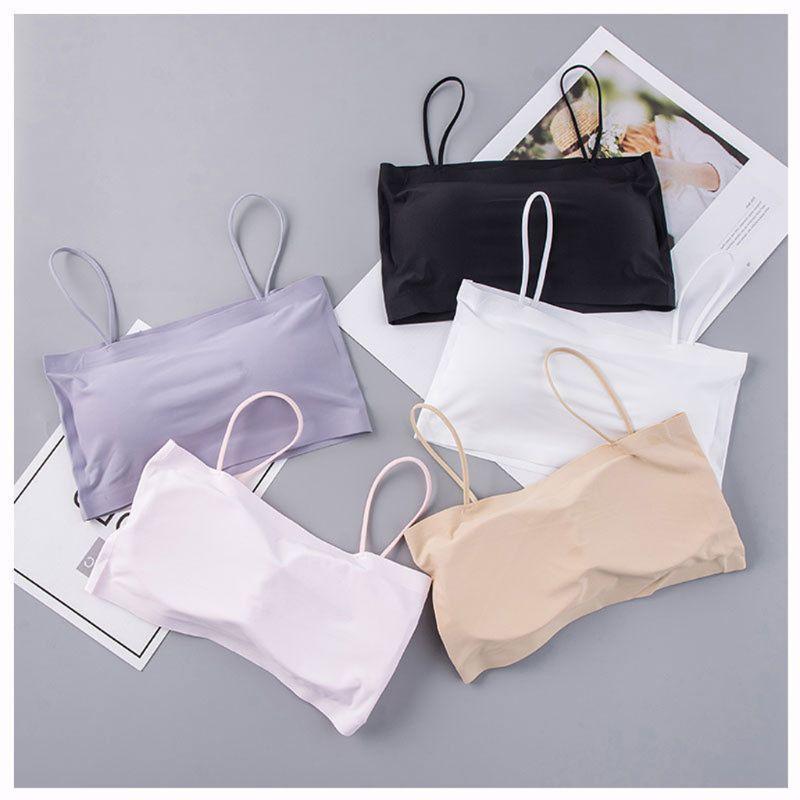 Women Summer Ice Feel Silk Spaghetti Bra Bandeau Tube Tops Removable Pads Seamless Crop Top Underwear Lingerie