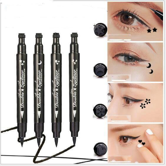 Çift Yan Eyeliners Tasarım Damga Kalın Siyah ve Hızlı Kuru Moda Eyelinerleri Kalem Göz Makyaj Araçları