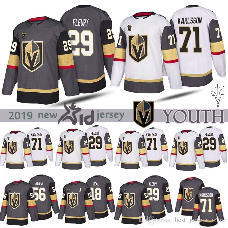 info for fdf0f fd57a YOUTH Vegas Golden Knights 29 Marc Andre Fleury 18 James Neal 71 William  Karlsson 56 Erik Haula Hockey Kids Jerseys UK 2019 From Best_jerseys_store,  ...