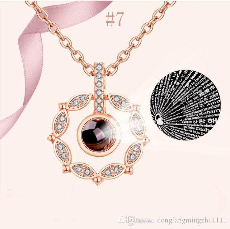 I Love You Necklace 100 Languages Heart Love Memory Projection Pendant Wedding Necklaces for Women Mother' s Day Gift Rose Gold/Silver