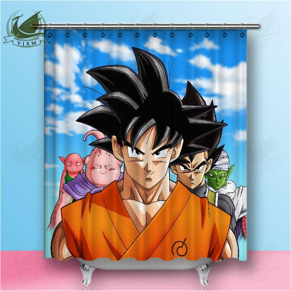 Vixm Japanese anime Shenlong Dragon Ball Sun Wukong Shower Curtain Movie Poster Painting Waterproof Polyester Fabric Bathroom Deco