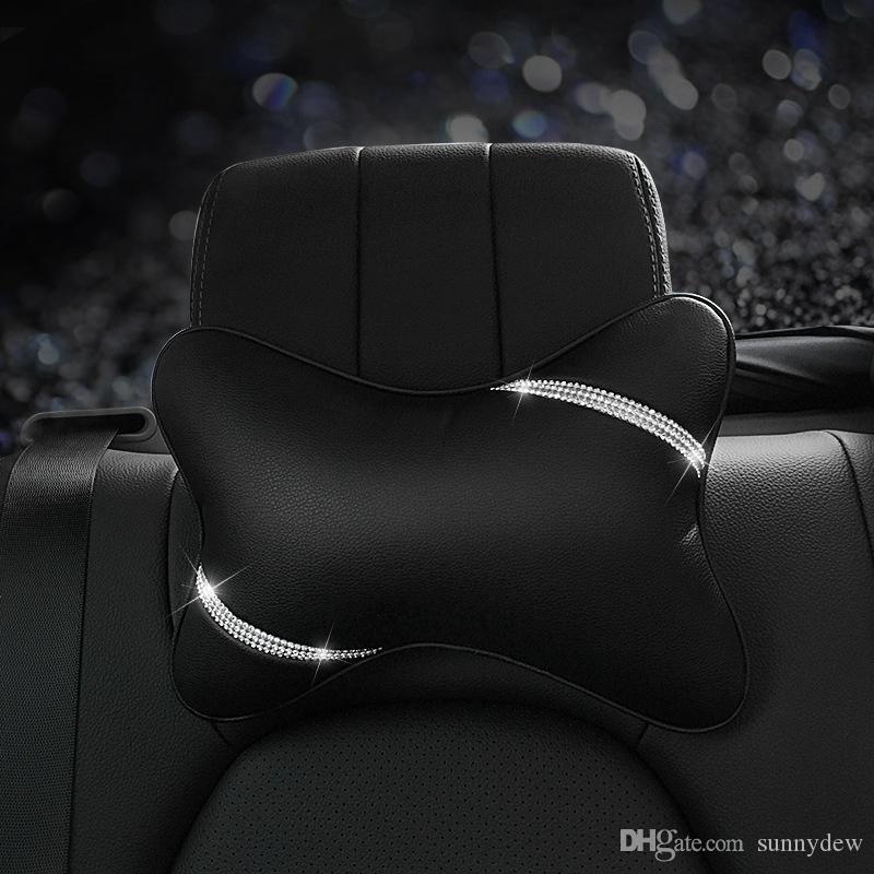 Car Shaping Bling Bling Rhinestones Elegant Girl Style Durable Car Lumbar Pillow Neck Pillow Handcraft Car Interior Accessories