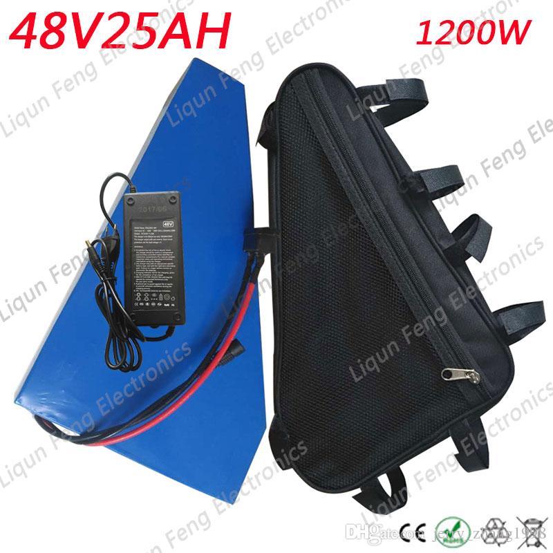 US EU pas de taxe 48V 25AH 1200W batterie au lithium avec chargeur 2A intégré dans 50A BMS batterie de vélo électrique 48V livraison gratuite