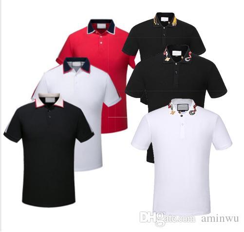 2019 العلامة التجارية الجديدة قمصان البولو أزياء كلاسيكية قصيرة الأكمام عارضة قميص بولو ثعبان النحل الأزهار التطريز رجال قميص بولو 3XL