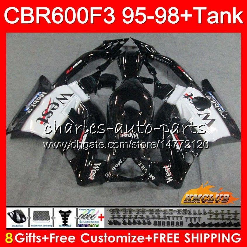 Cuerpo + tanque para HONDA CBR 600cc 600F3 CBR600 F3 95 96 97 98 41HC.36 CBR 600 F3 FS CBR600FS CBR600F3 oeste negro 1995 1996 1997 1998 carenado