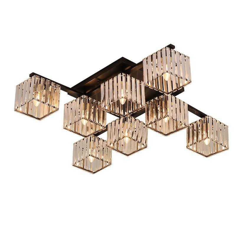 Nordic Sala Crystal Light Estudo Quarto Jantar Luz Sala Atmosfera Household candeeiros de tecto moderno quadrado levaram luzes de teto de cristal
