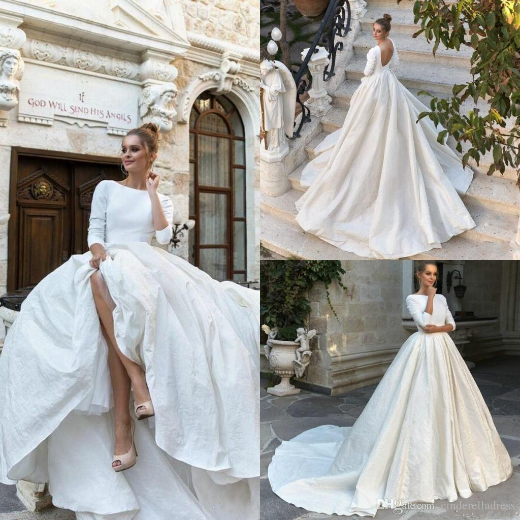 discount 2020 vintage country milla nova plain satin wedding dresses 3 4  long sleeves backless ball gown bridal gowns plus size vestido de noiva