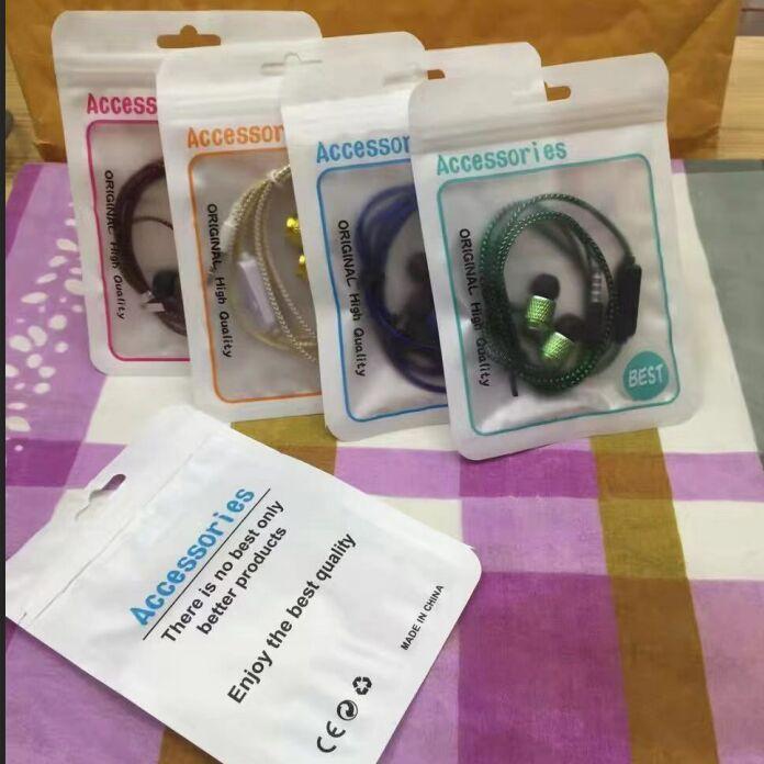 지퍼 플라스틱 OPP 폴 리 가방 스테레오 이어폰 헤드폰 오디오 헤드폰 이어 박스 DHL 무료 믹스 색상 및 디자인