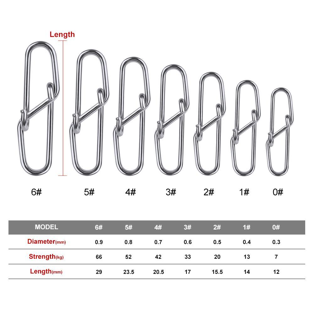 Angelhaken 100pcs Diamant Fischen Tönnchenwirbel Sicherheit 12mm-28.5mm Schwenker-Verschluss 0 # -6 # Schwenker