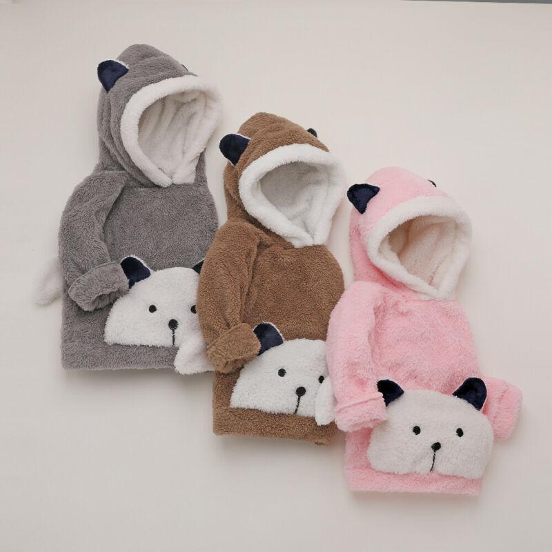 Infantil bonito da criança Meninos Meninas Hoodies acolchoado moletom com capuz Fax Fur Hoodies animal da cópia do bebê camisola unissex roupas