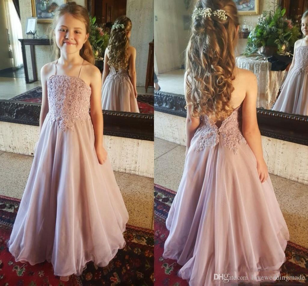 Lovely Spaghetti Flower Girls Dresses For Beach Wedding With LAce Appliqued  Chiffon Floor Length Plus Size Girls Pageant Dresse Cheap Shoes For Girls  ...