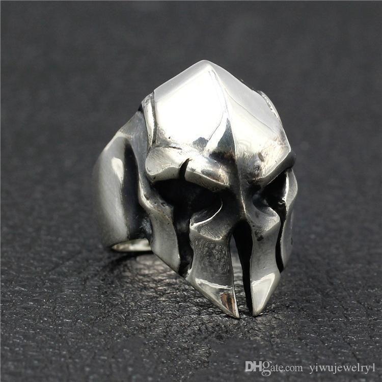 Punk Mens Vintage Ring Stainless Steel Spartan Warrior Mask Rings for Men Strange Mask Rings Jewelry Gift