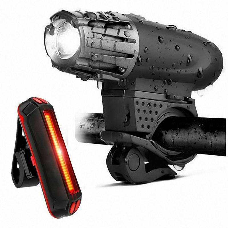 Bisiklet Ön Işık Seti USB Şarj edilebilir Arka Işık LED Far Suya Bike Lambası Bisiklet İçin Bisiklet Aksesuarları