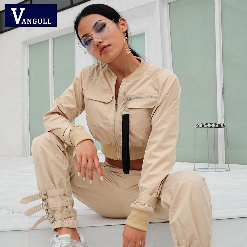 Kadın İki Parçalı Pantolon Vanull Kadınlar Takım Elbise Mahsul Tops Kadın İlkbahar Sonbahar Casual Setleri Toka Streetwear Ceket Pantolon Set Bayan İş Takım Elbise