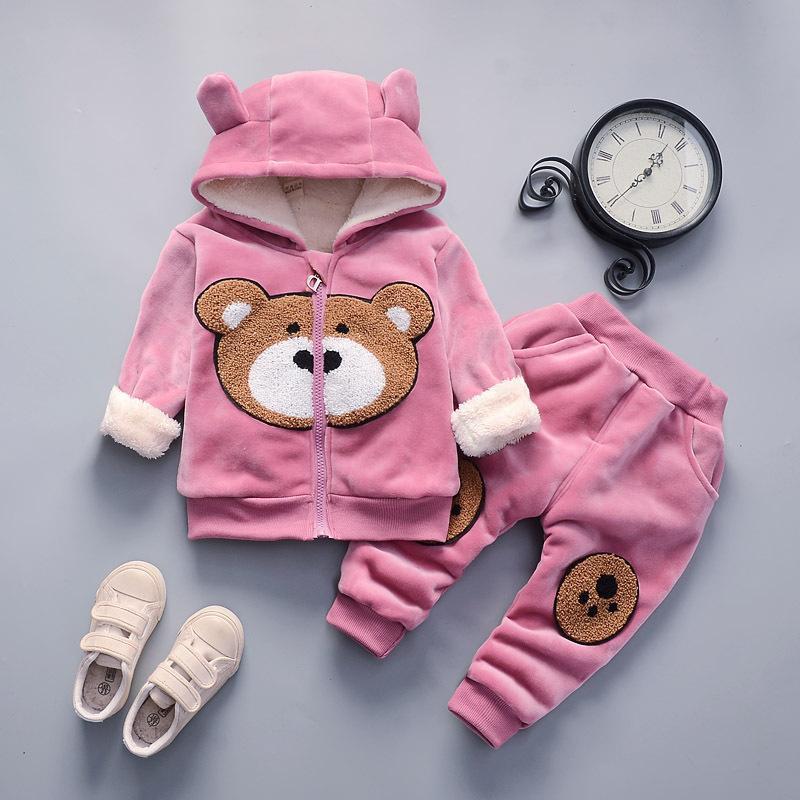 Roupa para meninas Define Primavera Outono Crianças Casual quentes Cotton Casacos Calças + 2pcs Fatos para bebés Crianças grossas ternos de veludo oufits