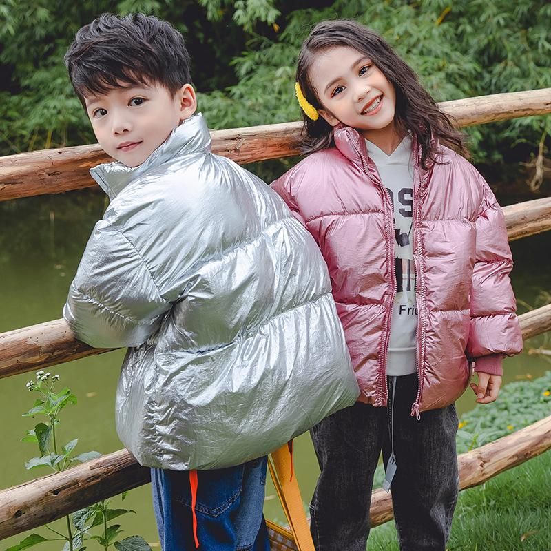 Niños Chaqueta de invierno para niñas de plata brillante algodón abajo ropa niño acolchado chaqueta parka niños abrigo ropa exterior 3 8 14 años