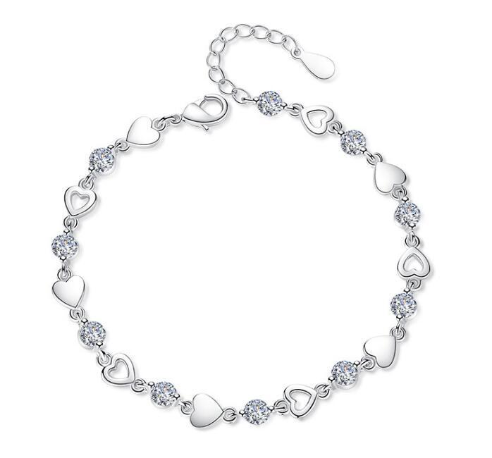 Love Heart Sweety Bracelets avec cristal S925 argent sterling plaqué Charm Bracelet Bijoux avec Violet Blanc CZ Diamant