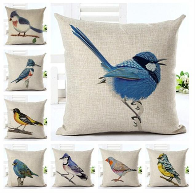 Vintage Country Floral Bird Cushion cover Waist Throw Cotton Linen Cushion Pillow Home Decorate sofa Cushions 45*45cm Without Filling