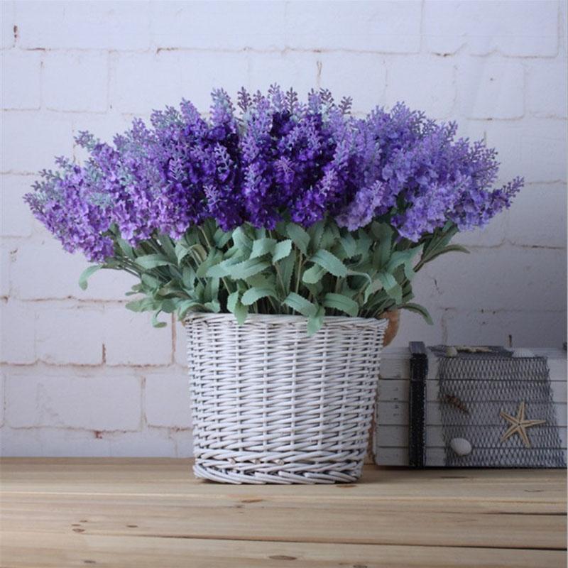 10Heads / Bouquet romantique Provence artificielle fleur pourpre lavande Bouquet avec des feuilles vertes pour la maison Jardin Décoration