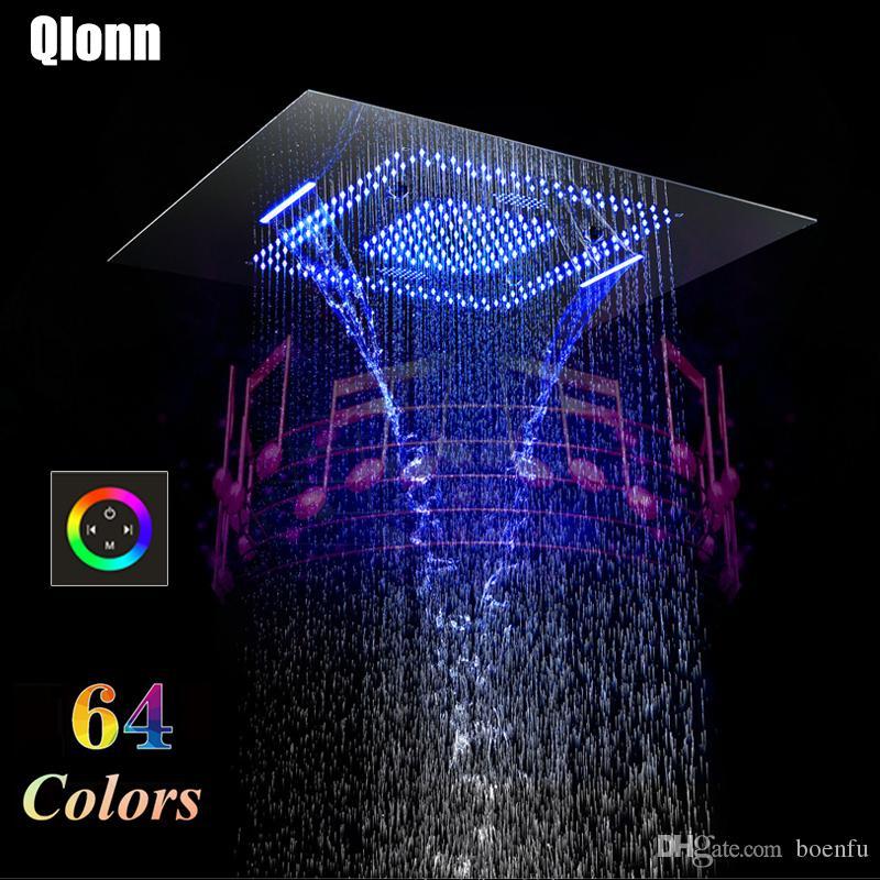 Bathroom Bluetooth LED Music Shower head Rainfall Misty Waterfall 800*600mm Rmote control Showerhead Waterproof Speaker 304SUS Showers