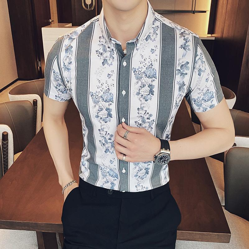 2020 Vintage Shirts For Mens Fashion 2020 Summer Mens Designer Shirts Flowers Printed Short Sleeve Slim Fit Striped From Stylefisher 33 66 Dhgate Com
