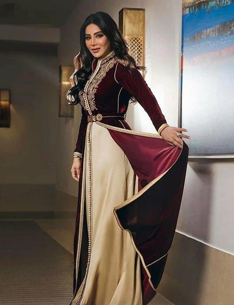 Vestido Moroccan caftans Burgundy Formal Vestido A-line mangas compridas vestidos de noite até o chão festa Vintage veludo com bordado