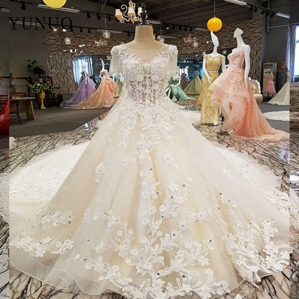 2019 Hot Sale Real Photos Appliques Beading Lace Up Voile Flowers O-Neck A-Line Romantic Wedding Dresses
