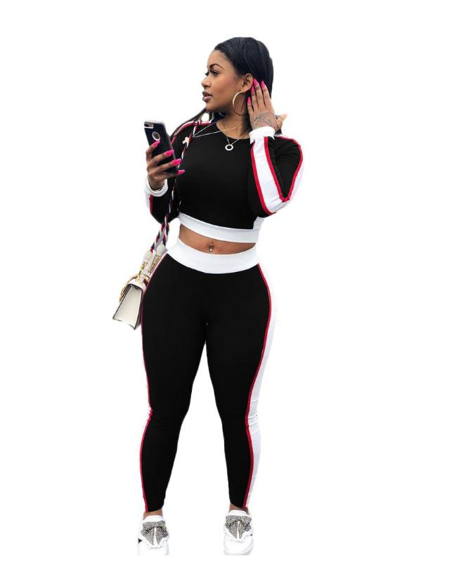 2 Pieces Outfits Striped Women's Casual Long Sleeve Tops Long Pants Set Bodycon Sweatsuits Tracksuits Set