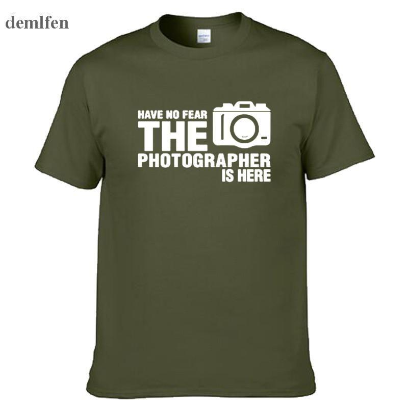 No tenga ningún miedo que el fotógrafo está aquí Personalizadas camiseta divertida de los hombres de algodón de manga corta camiseta de verano tapa de la manera Tees