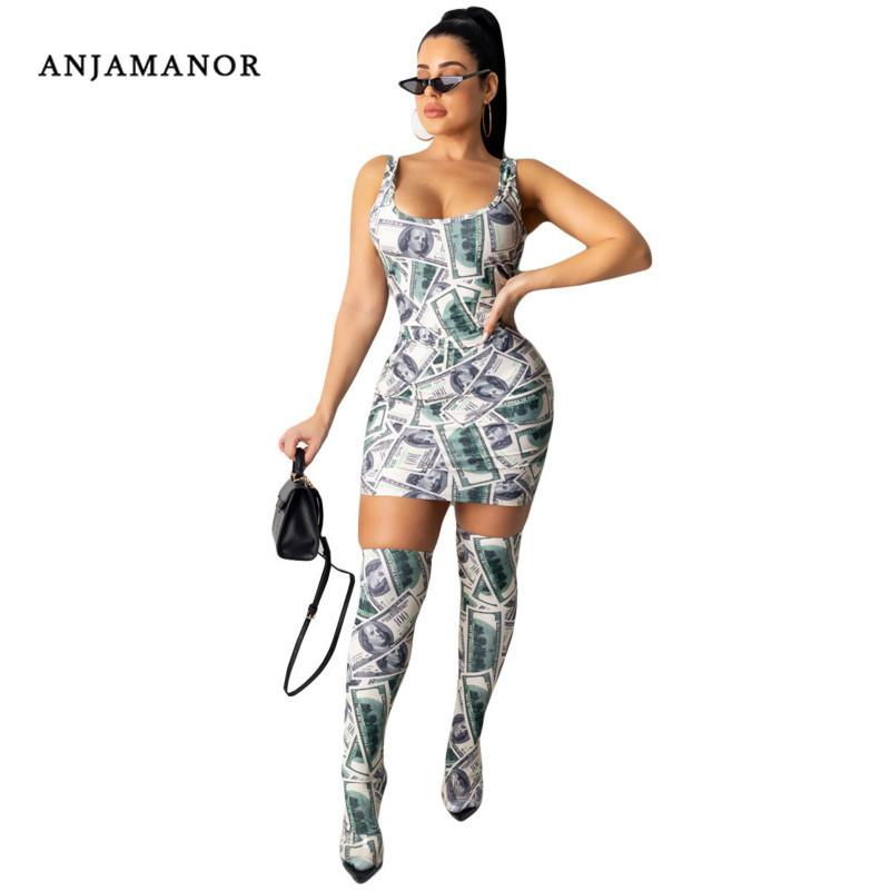 ANJAMANOR Sexy Money Print Sleeveless Mini Bodycon Dress with Stocking Casual Ladies Dresses Party Night Clubwear D91-AB06 T200627