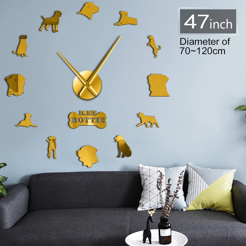 Frameless Rottweiler Dog Breed 3D Acrylic Simple DIY Wall Clocks Puppy Pet Care Store Wall Art Decor Mirror Effect Clock Watch Y200407