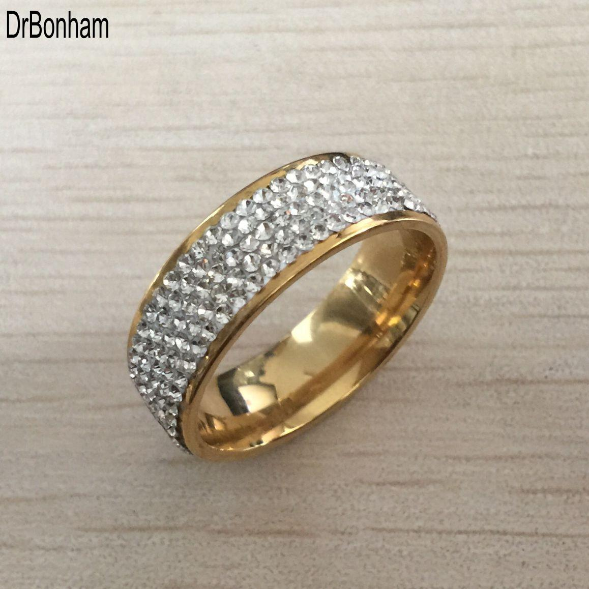 diamante blanco anillo de bodas de compromiso cristalino 2020Deluxe acero inoxidable 316L ORO 18K anillo para las mujeres de las muchachas de los amantes al por mayor de envío libre