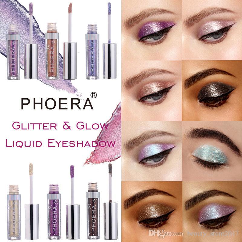 PHOERA 12 Sombras Sombra de ojos de diamante metálico Pearly Impermeable Fácil de usar Fiesta Radiante Fashion Liquid Glitter Eyeshadow
