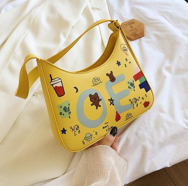 Designer Luxury Handbags Purses Women Graffiti Personality Shoulder Bags Letter Fashion Girls Baguette Bag Crossbody