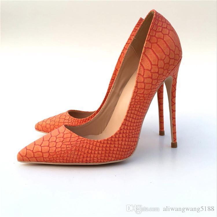2019 envío gratis moda mujer boda nueva naranja de cuero pitón Poined Toes zapatos de tacones HEELED tacones de tacón de aguja zapatos bombas 12 cm 10 cm