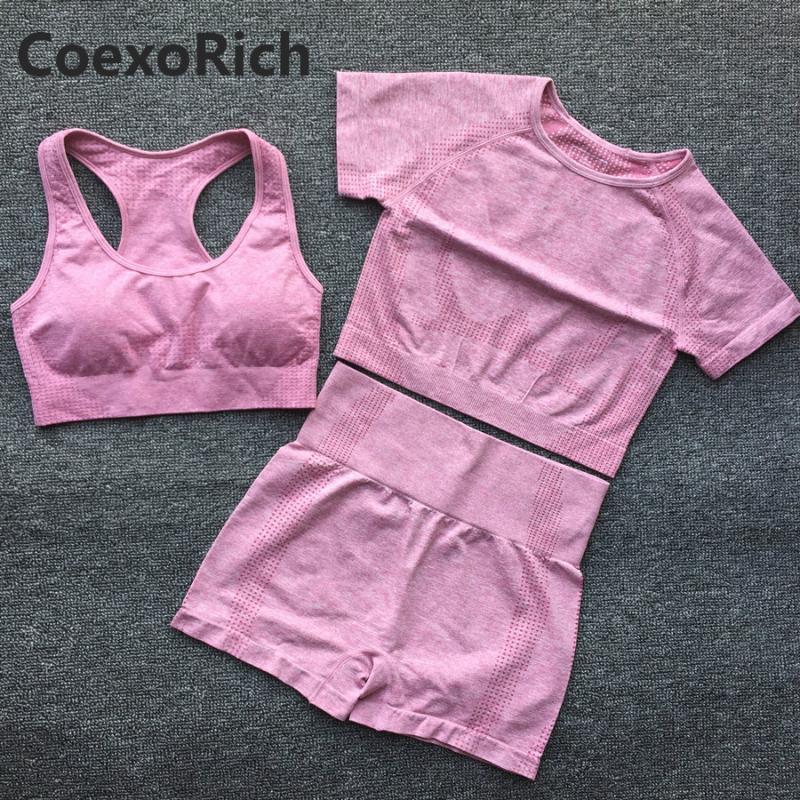 Women Short Sleeve Yoga Set 3 Piece Vital Seamless Sport Bra Suit Gym Clothes Fitness Crop Tank Top Shirt High Waist Shorts