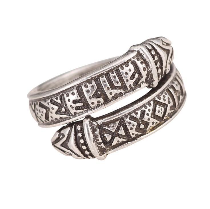 BC0011 Викинг ювелирные изделия письмо змея ювелирные изделия письмо змея кольцо мода Древнее серебряное кольцо Nordic Rune мужская Hand Ring оптом